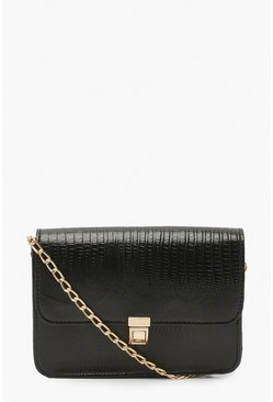 Black Pu Lizard Front Lock Cross Body Bag