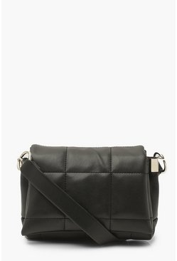 Black Chunky Quilted Panel Cross Body Bag