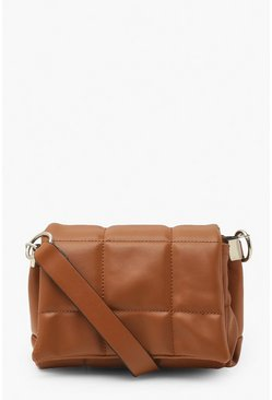 Chocolate brown Chunky Quilted Panel Cross Body Bag