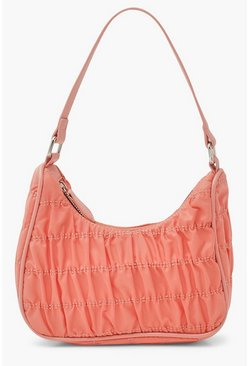 Pink Nylon Ruched Underarm Bag