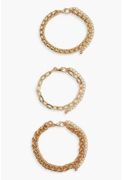 Gold metallic 3 Pack Chunky Chain Bracelets