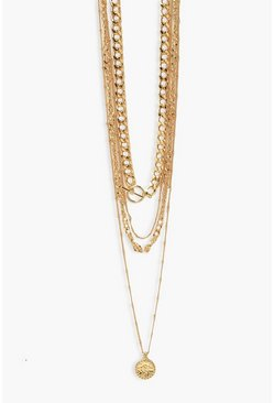 Gold metallic 4 Layer Chunky Toggle Chain Necklace Pack