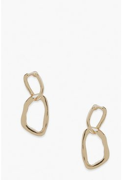 Gold metallic Wavy Chain Hoops