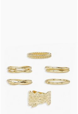 Gold metallic Chunky Ring Pack