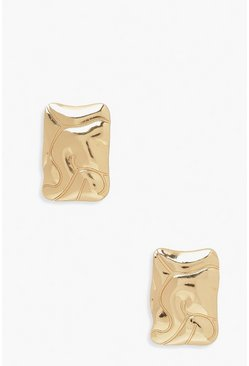 Wave Square Studs, Gold metallizzato