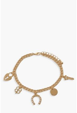 Gold metallic Lucky Charm Bracelet