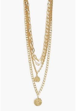 Gold metallic Super Chunky Coin Layered Necklace