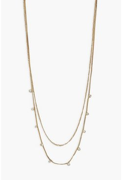 Gold metallic Diamante Drop Necklace
