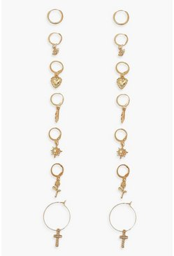 Gold metallic Pearl Knot And Heart Earring Pack