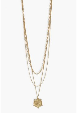 Gold metallic Coin Pearl Necklace