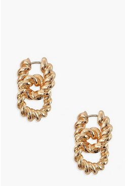 Gold metallic Twist Lock Chain Earrings