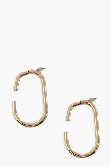 Gold metallic Broken Smooth Rectangle Hoop