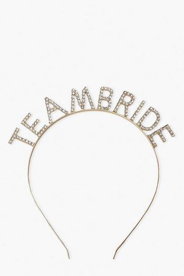 Gold metallic Team Bride Diamante Headband
