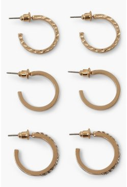 Gold metallic Mix Smooth And Diamante Hoop 3 Pair Pack