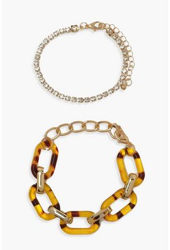 Gold metallic Resin And Diamante Bracelet 2 Pack