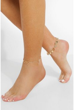 Gold metallic Heart And Disc 3 Pack Anklets