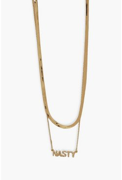 Gold metallic Diamante Nasty Double Layer Chain Necklace