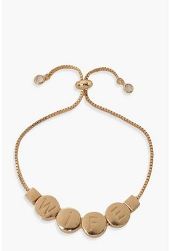 Gold metallic Wife Rounded Bead Toggle Bracelet