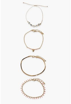Gold metallic Summer Happy Face Bracelet Pack