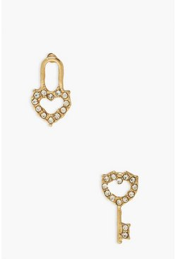 Gold metallic Heart Lock And Key Studs