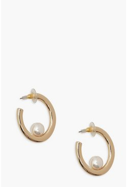 Gold metallic Pearl Hoop Earrings