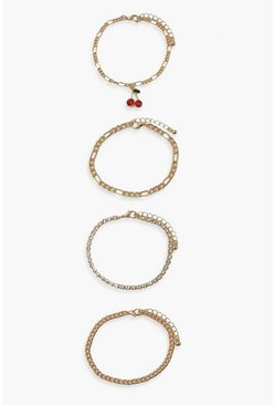 Gold metallic Cherry Bracelet Pack