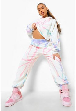 Multi Rainbow Tie Dye Cropped Tracksuit