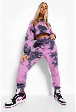 Purple Tie Dye Cropped Tracksuit