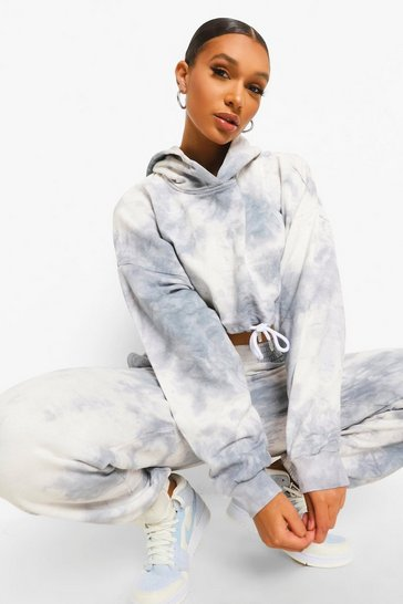 Grey Tie Dye Tied Cropped Tracksuit