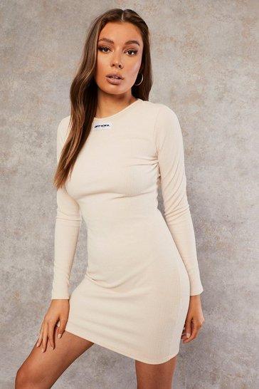 Ecru white Recycled Long Sleeve Bodycon Dress