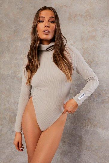 Grey Recycled Rib Roll Neck Bodysuit