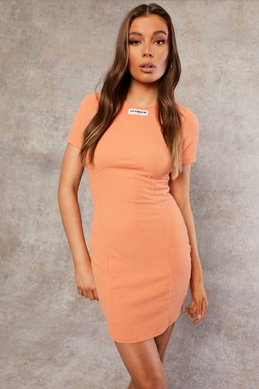 Coral pink Recycled Rib Bust Detail Dress