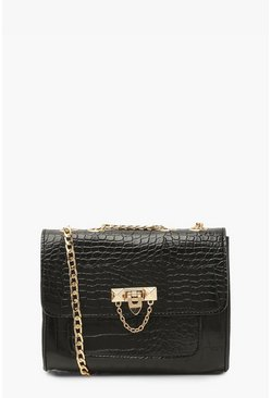 Black Croc Structured Chain Handle Cross Body