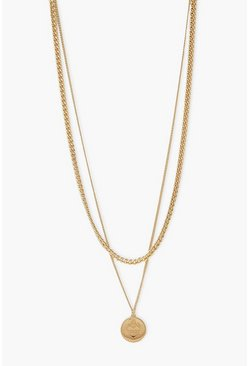 Textured Heart Coin And Curb Chain Necklace, Gold metálicos