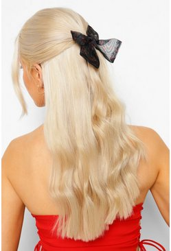 Black Cherry Print Hair Bow