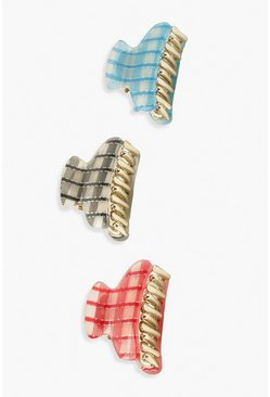 Check Mini Clips 3 Pack, Multi multicolor