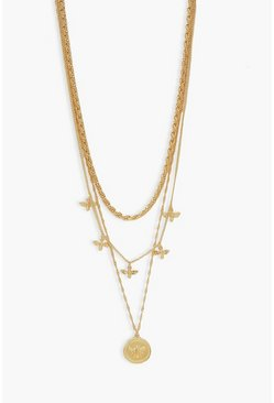 Gold metallic Bee Drop Layered Necklace