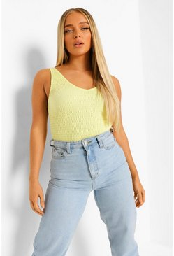 Lime green Shirred V Neck Bodysuit