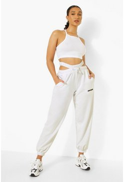 White Lace Up Crop & Cut Out Jogger