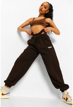 Chocolate brown Ofcl Studio Cut Out Washed Jogger