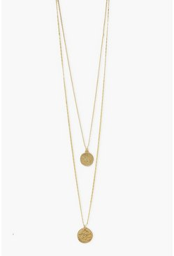 Gold metallic Double Coin Pendant Layered Necklace