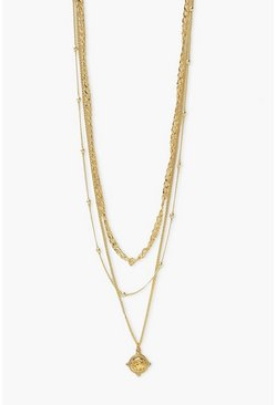 Gold metallic Layered Mini Coin Necklace