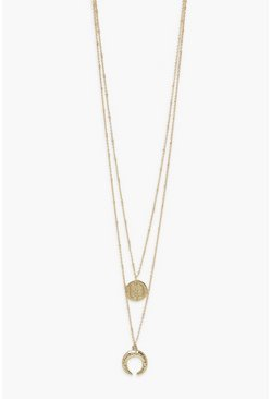 Gold metallic Double Pendant Layered Horn Necklace