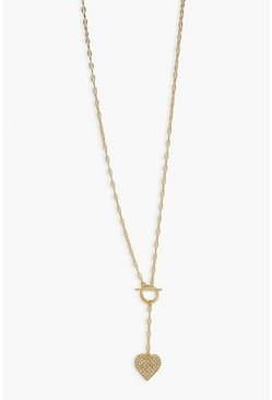 Gold metallic Heart Tag Necklace