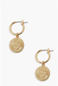 Gold metallic Heart Textured Coin Earrings