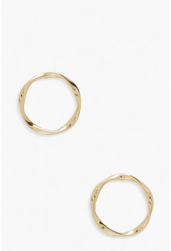 Gold metallic Simple Wave Circle Stud