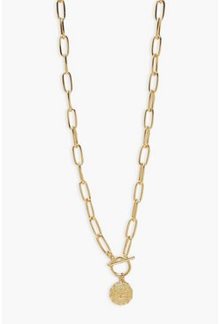 Gold metallic Chunky Coin Tag Necklace