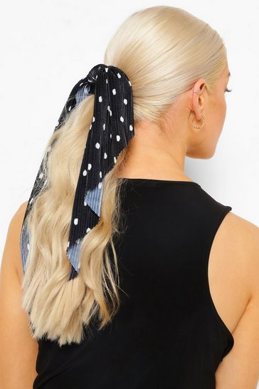 Black Plisse Dot Scrunchie Scarf