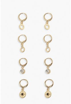 4 Pack Dangle Hoop Earrings, Gold Металлик