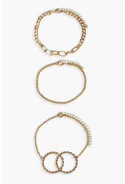 Gold metallic Double Ring 3 Pack Bracelets
